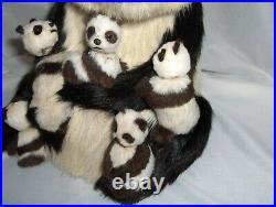 Vintage Real Fur Mother Panda Bear & 5 Cubs 9 Figurine 2 Cubs Bobble Heads RARE
