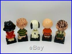Vintage Set Of 5 Peanut Gang Bobbleheads Nodder Lego Japan