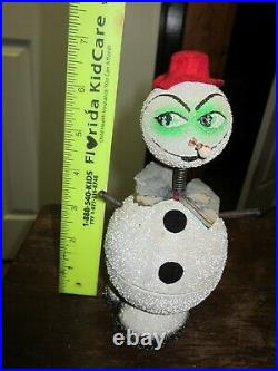 Vintage Snowman Bobble Head, Nodder, Candy Container, Made In Germany