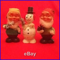 Vintage Snowman and 5 Elf candy container bobble head Made in Western Germany