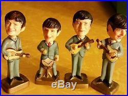Vintage The Beatles Cake Topper Set of Four Bobble Head Dolls Nodder Exc Cond