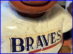 Vtg 1960s Atlanta Braves Sports Specialties Nodder Bobblehead Gold Base Mohawk