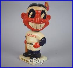 Vtg 1961 Cleveland Indians White Square Base Bobbin Head Bobble Head Nodder Doll