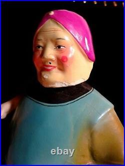 Vtg Chinese Large Old Lady Papier Mache Doll Nodding Bobble Head Body Arm Fan