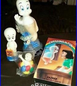 Vtg lot 4 Casper the friendly ghost VHS 89 bobblehead 95 bubblebath 95 figure